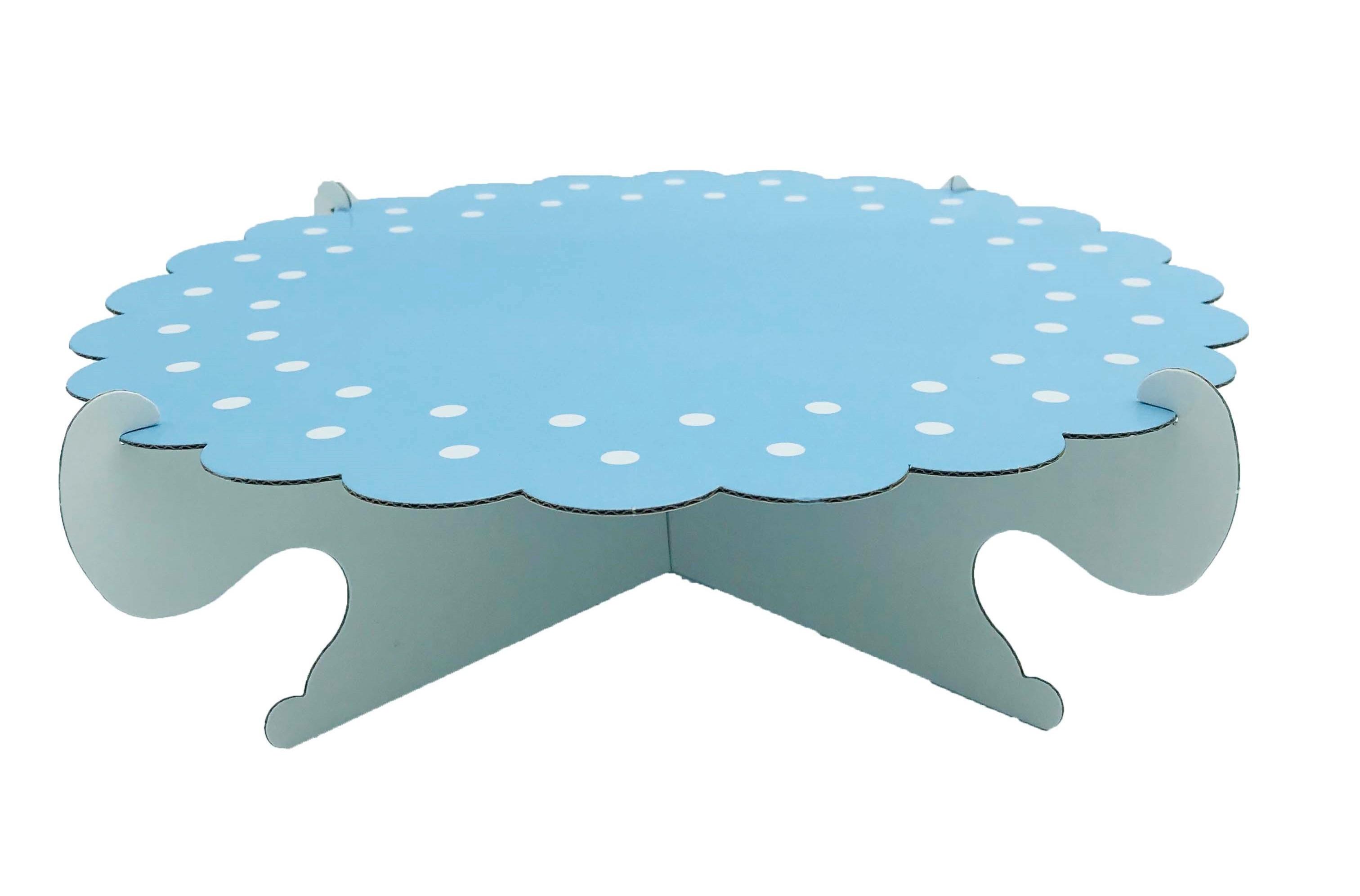 50399 Portadulces Modular de Cartón 1 Piso Lunares Y Rayas Azul Pastel Image
