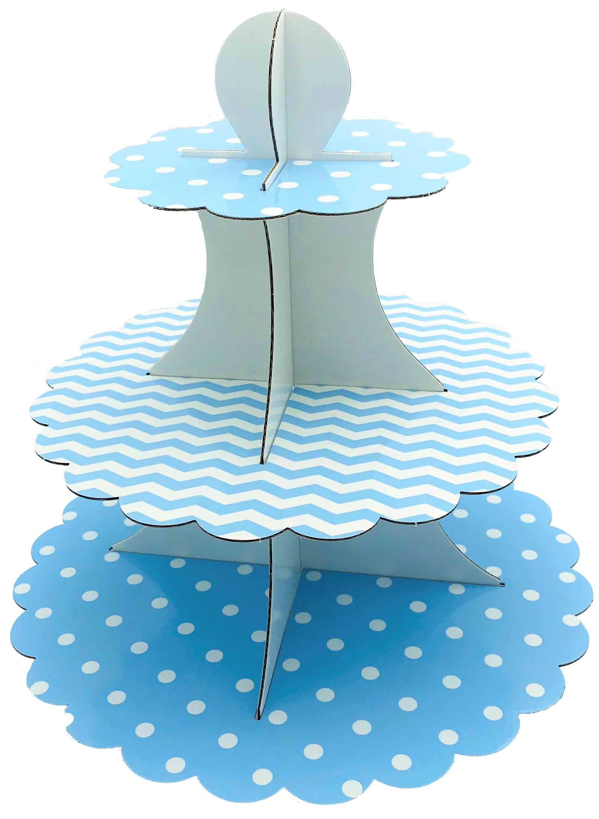 50403 Portadulces Modular de Cartón 3 Pisos Lunares Y Rayas Azul Pastel Reversible Image