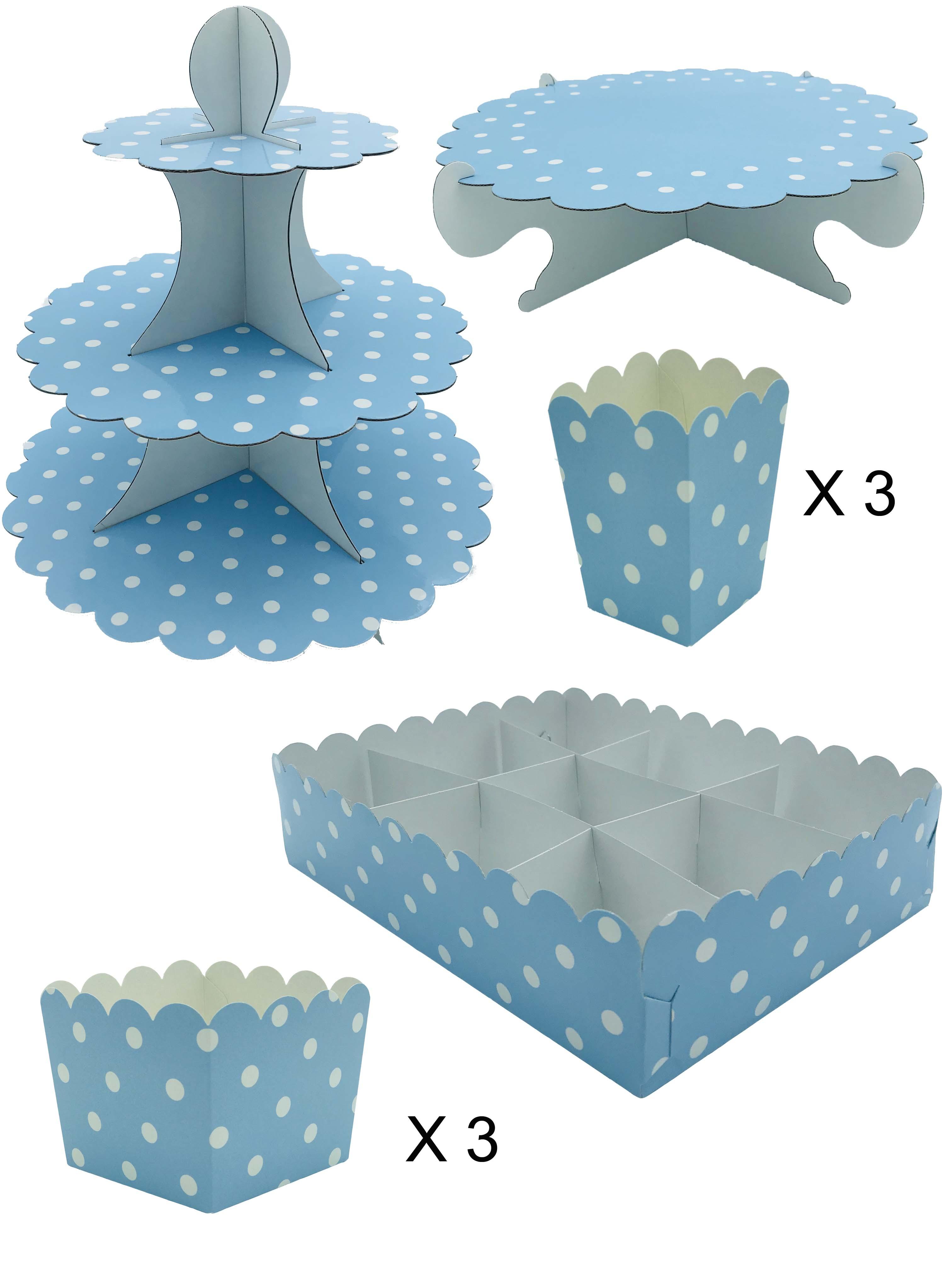 50416 Kit Completo Mesa Dulce Lunares Azul Pastel Image