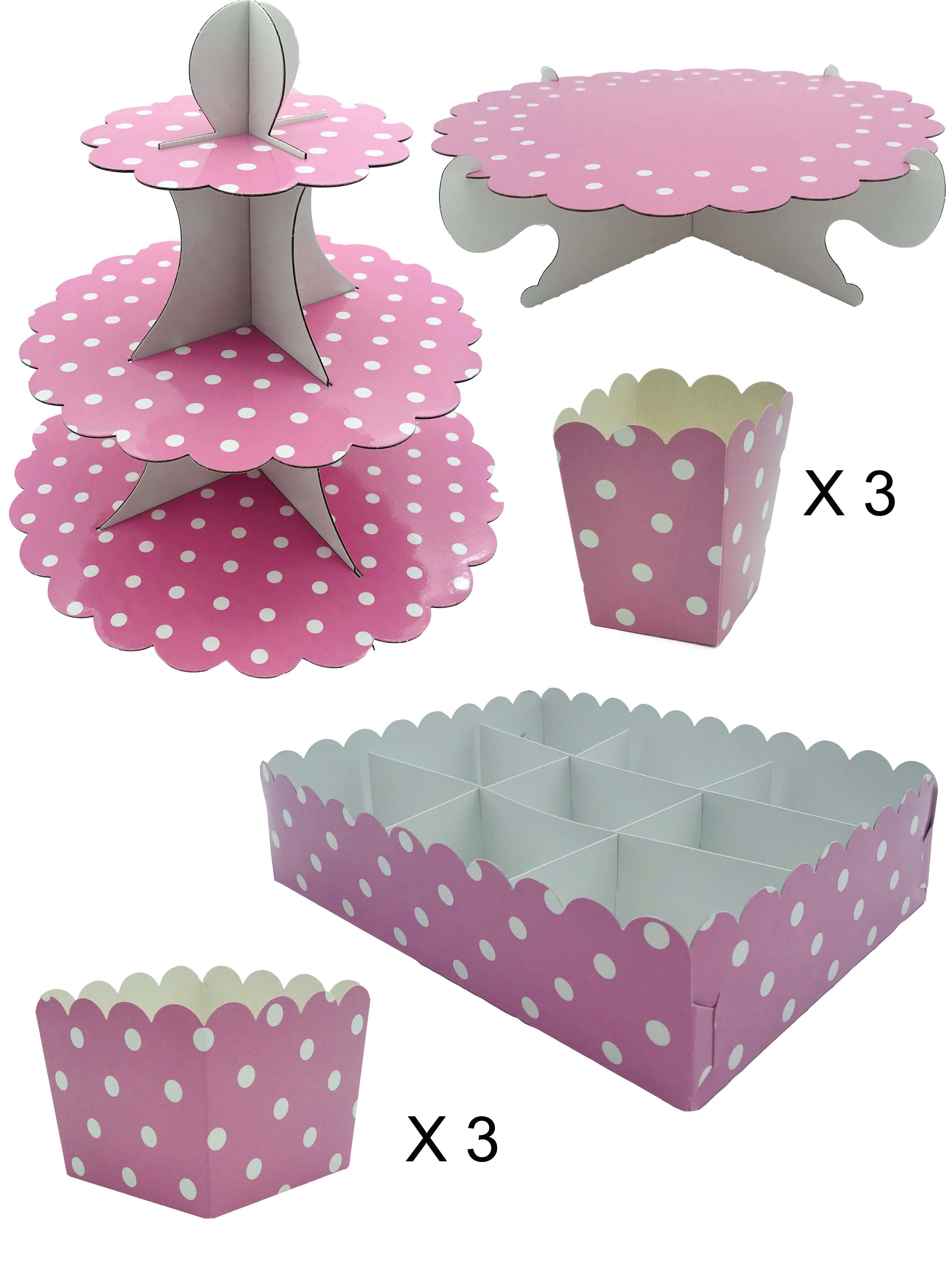 50417 Kit Completo Mesa Dulce Lunares Rosa Pastel Image