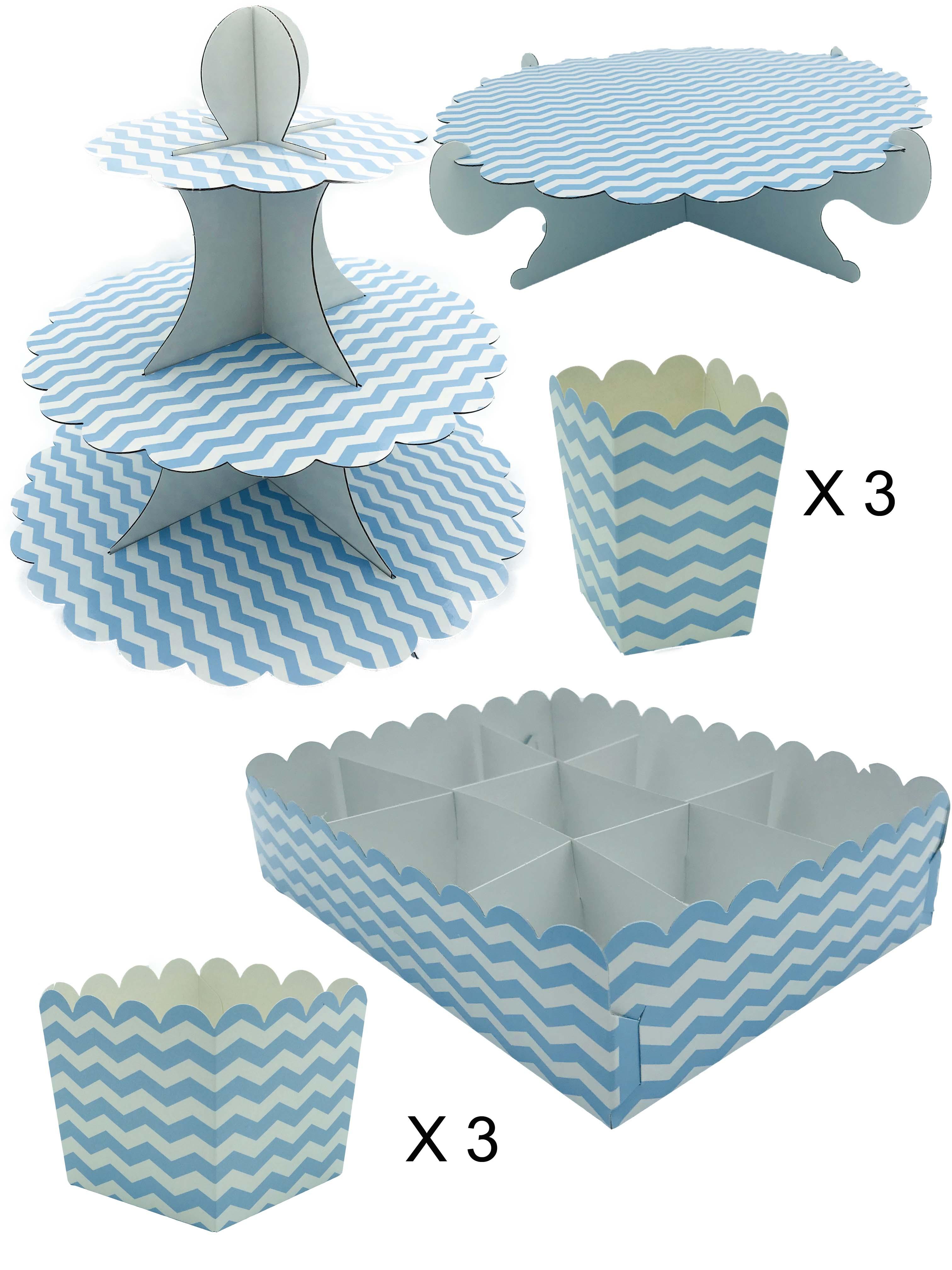 50418 Kit Completo Mesa Dulce Rayas Azul Pastel Image